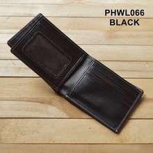 Unik dompet pria kulit asli model tiga dimensi warna hitam PHWL066