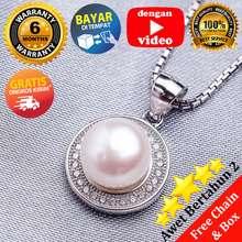 Pearl & Pearl WGP 090 - Kalung Perak Emas Putih dan Mutiara Asli - Garansi 6