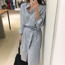 MIDO Long-Sleeve Striped Stand Collar Midi A-Line Shirtdress