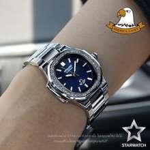 American Eagle Outfitters นาฬิกาข้อมือผู้หญิง สายสแตนเลส รุ่น AE8014Lเพชร – SILVER/NAVYBLUE