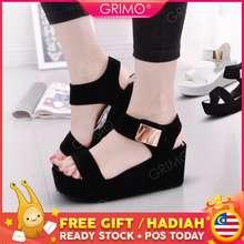 729dc84fe32 Grimo READY STOCK💓👠 Metal Plat Women Fashion High heel Sandal Wedges Shoe  Kasut