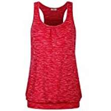 Zumba Miusey Zumba Clothes For Women,Ladies Exercise Training Tank Tops Unique Yoga Gym Running Sports Muscle Fitness T-Shirts Great Football Match Activewear (Small, Space Dye Red -2)