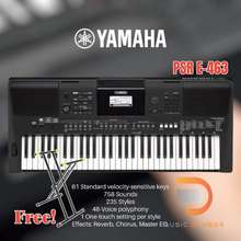 Yamaha Yamaha Psr-E463 คีย์บอร์ดรุ่นสุดฮิต ที่ได้รับความนิยมอันดับต้นๆ แถมฟรี ***** ขาตั้ง Gravity Ksx 2 และ Adaptor *****