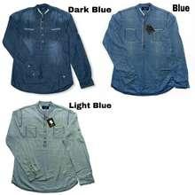 Massimo Dutti [J64-1M & J64-2M & J64-3M] Kemeja Pria Dark Blue/Blue/Light Blue