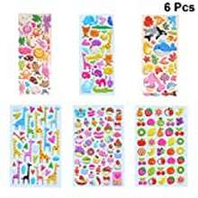 3d Healifty 6Pcs 3D Sticker Sheets Animal Stickers 3D Puffy Stickers Bulk Stickers For Girl Boy Teachers Toddlers Birthday Gift Scrapbooking