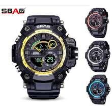 "SBAO "" Ready Stock "" Men'S Digital Quartz Dual Time Waterproof Sports Watch"