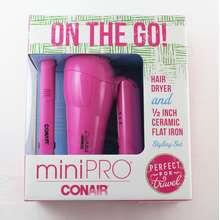 Conair Mini Pro On The Go Travel Hair Dryer and Ceramic Flat Iron/Straightener Styling Set