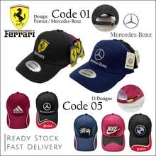 Ferrari Mercedes Benz Adjustable Fashion Smart Unisex Cap Unisex Topi Hat Lelaki Perempuan