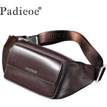 Padieoe Pria Perjalanan Cross Tubuh Tas untuk Ponsel Tas Pinggang Fashion Tas Bahu Kulit Asli Pria Tas Dada messenger Tas