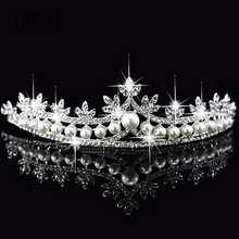 Wedding Bridal Leaf Rhinestone Imitation Pearl Princess Tiara Crown Accessory