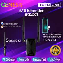 Totolink [🔱Portable Booster🔱] Ex1200T Ac1200 Dual-Band Wi-Fi Range Extender (2.4Ghz 300Mbps + 5.0Ghz 867Mbps) Uk 3 Pin