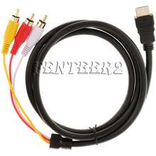 3D Hdmi Male S-Video To 3Rca Av Audio Cable Connector Adapter