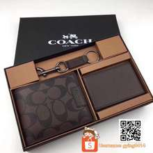Coach Ready Stock Wallet Men Set Gift Brown Charles In Signature Dompet Lelaki Leather Keychain Short F74736