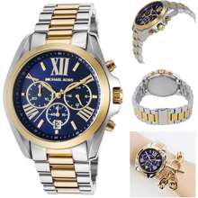 b5456daec4f2 michael kors (mk) MK Michael Kors WOMENS MENS Bradshaw Chronograph Blue  Dial Two-