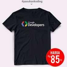 Google Kaos Programer Developer Combed 30S Premium Sablon Polyflex Hitam Xl