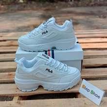 FILA Fila Disruptor II Premium Sneaker (ฟิล่า ส้นตึก) ยอดฮิตสุดๆ โปรโมชั่นลดราคาพิเศษ นำเข้าตรงจากเกาหลี พร้อมรับประกันทุกคู่ และของแถมอีกเพียบ!! (ขาว, EU:36)