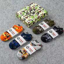 Stussy [Ready Stock]Aape 5Pairs Camouflage Socks Spring And Summer Aape Stocking Letter Printed By A Bathing Aape Breathable