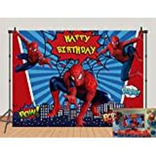 Spiderman Red Spiderman Photo Backdrops Super City Spiderman Boys Baby Shower Birthday Party Decoration Photography Background Superhero Citycape Kids Studio Booth Props 5X3Ft