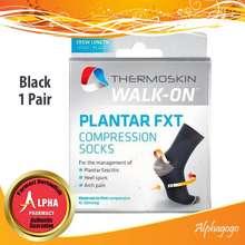 THERMOSKIN Walk-On Plantar Crew Compression Socks - Black (1 Pair)