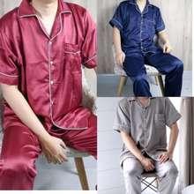 Pajamas Jumbo Pria Satin Exclusive Silk Polos Lengan Pendek Celana Panjang Cowok Ld 110 120 130