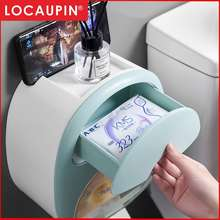 Locaupin Toilet Paper Holder Adhesive Wall Mount Facial Tissue Storage Box Paper Towel Dispenser With Shelf And Drawer