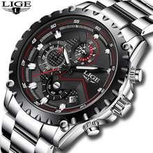 LIGE 🔥Ready Stock🔥 Men Watch Stainless Steel Waterproof Analog Quartz Watches
