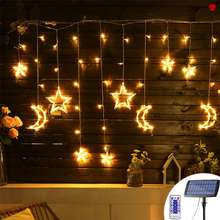 🎀🎀🎀138Led 3.5M Christmas Led Solar String Lights Romantic Fairy Star Curtain Light Holiday Wedding Party Decor With Remote Control Christmas Decoration Fairy Lamp Spring Festival Lantern String Spring Festival Decoration