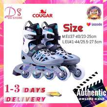 Cougar 【1 Mouth Warranty】 MZS308N Adult Adjustable Removable Washable Inline Skate Roller Skating Shoes Roller Skates (Silver purple) (Sliver&Perple)