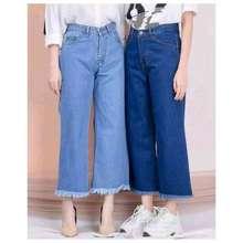 Pull & Bear Kulot Jeans Jumbo Wanita Murah Big Size Rawis Polos Pull And Bear Kulot Jeans Rawis Non Stretch