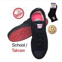 Warrior School/Takraw Shoes Wb-8 Black + School Socks