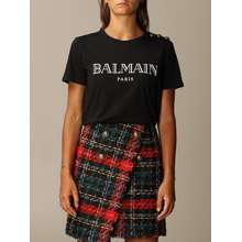 BALMAIN T-shirt Cotton With Logo And Buttons