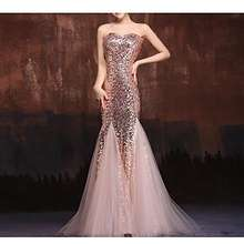 da06c5cebef mermaid   Trumpet Strapless Floor Length Tulle   Sequined Formal Evening  Dress with Crystals   Embroidery