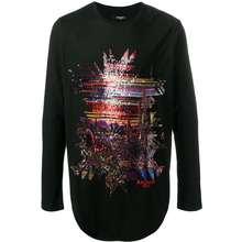 Balmain Sequin Abstract Motif Long Sleeve Tshirt