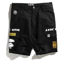 Supreme Aape X By A Bathing Aape Black Short Denim Jeans Pants #Dmaapejeans