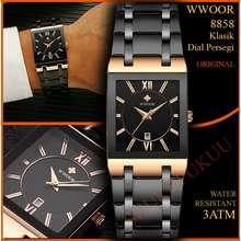 Wwoor Jam Tangan Petak Pria 8858 Rose Black Original