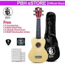 BLW Ukulele 21 Inch Soprano Ukulele Hawaii Guitar Wood / Sapele Package Comes With Bag, Chord Chart, Pick And Sticker