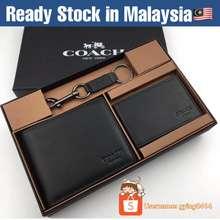 Coach Ready Stock Leather Wallet Men Set Gift Box Black Cardholder Card Holder Lelaki Gying0414 F74991 74991