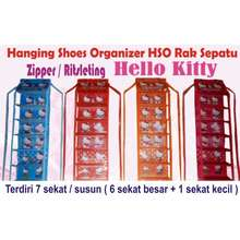 Hello Kitty tempat rak sepatu gantung resleting hso zipper karakter