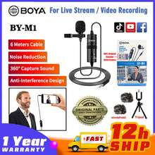 Boya Original By-M1 Lavalier Microphone Recording Clip Laptop Mic Omni Directional Condenser Mic Live Stream 3.5Mm Plug For Iphone Android Phone Camera Pc [Ready Stock]