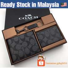 Coach Ready Stock Wallet Men Set Gift Black Charles In Signature Short Ready Stock Male Lelaki Dompet Black Malaysia