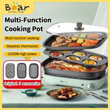 Bear Multi Electric Cooker Frying Pan Grill Meat Steak 4L Hot Pot Muffin Plates 5 In 1 Cooking Pot