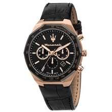Maserati Stile Black Leather Strap Chronograph Watches R8871642001