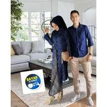 Hasna grosir Couple Kb Nurti Terbaru Couple Pakaian Tradisional Couple seragaman (Int:L|XL, Navy)