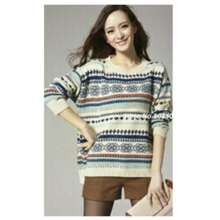 DeCouple Sweater Wanita Yolanda / Baju Tebal / Sweater Love / Kaos Sweater Rajut/ Sweater Lengan Panjang NR - Putih