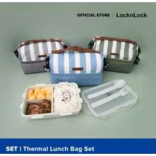 Lock & Lock Locknlock New Thermal Insulated Lunch Bag Set With Strap For Work Hpl816Cs