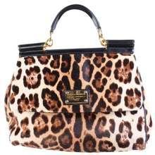 7baa0dd5c5 Dolce Gabbana Sicily Pony Hair Leopard Bag In Brown