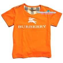 Burberry T-Shirt เสื้อยืดสีส้มสกรีนด้านหน้าเนื้อนุ่มค่ะ Sz. Xs