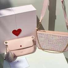Pedro Original Tweed Double Flap Bag Pink / Tas Wanita