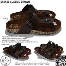 Handmade Stexel Classic Brown Sandal Casual Original Kekinian Triple Strap 41