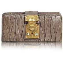 0011223ed37c Miu Miu Dark Green Wallet With Golden Clasp